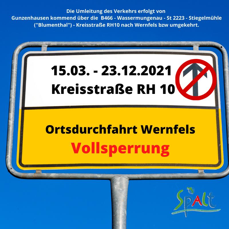 Sperrung Ortsdurchfahrt Wernfels