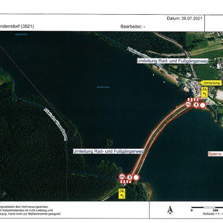 Verkehrshinweis Rad- & Fussweg am Igelsbachsee gesperrt